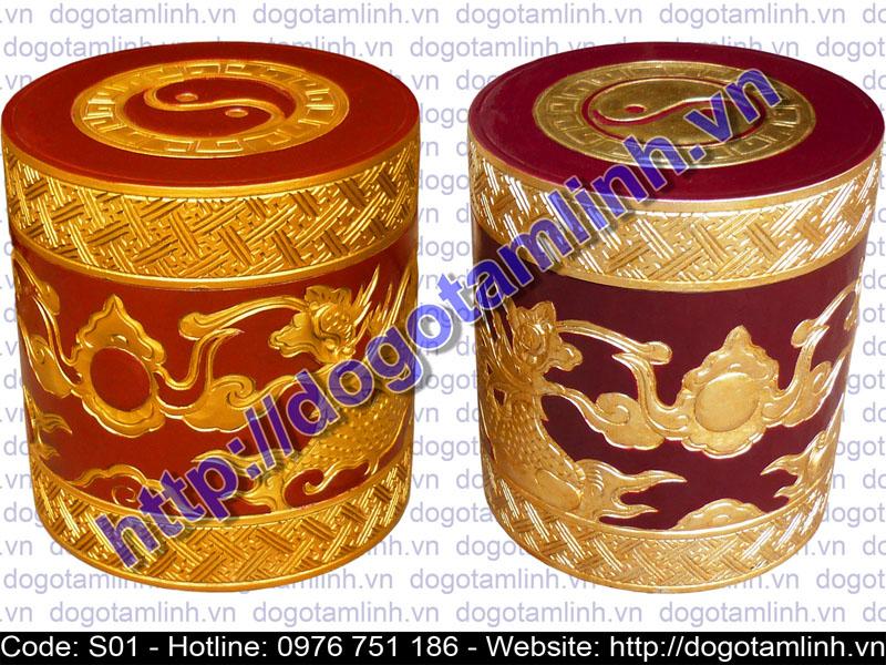 lọ tro tròn gỗ Vàng Tâm trạm Rồng