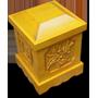 Quách vuông đựng bình tro đục sen gỗ vàng tâm